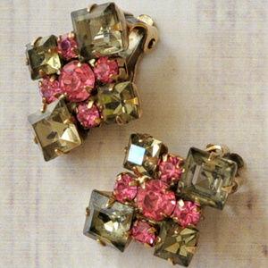vintage pink olive grey rhinestone clip earrings